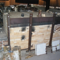 Wood kiln with transtion box on left