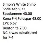 Simons White Shino